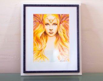 Original Watercolor Box / / Faerie Style / / Fairy Portrait of the Day