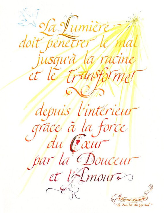 French Calligraphy Small Paper Typography Etsy