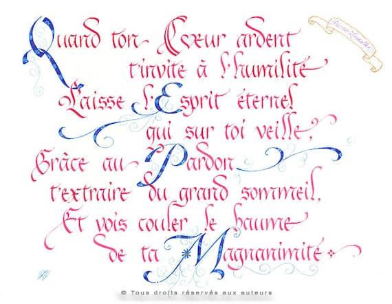 Calligraphie Française Format Medium Impression Couleur Etsy
