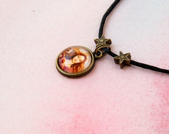 """Child necklace with pendant-Medallion illustrated """"Harmony"""" / / fantasy and stars / / Bronze and adjustable cord"""