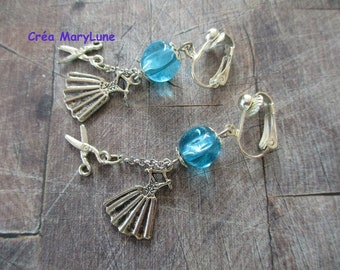 Earrings CLIPS for non-pierced seamstress dress and blue scissors