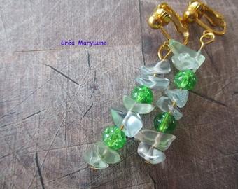 Earrings CLIPS for non-pierced ears green chips