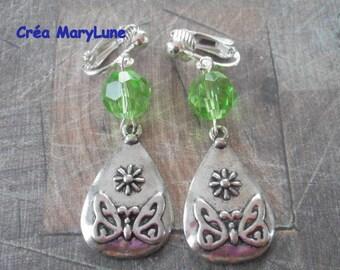 Earrings clips for non-pierced ears Green Butterfly