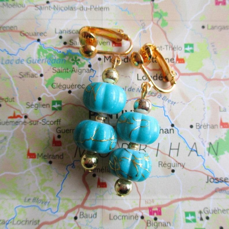 Découvrez meilleure collection original à chaud Clips boucles d'oreilles lanterne chinoise bleue