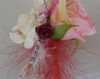 Woman wedding corsage brooch