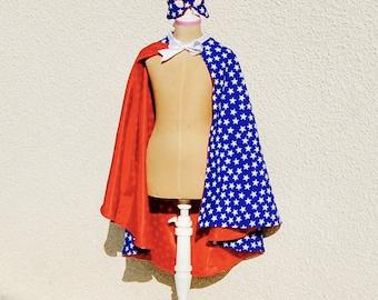 Masked superhero cape, disguise, Christmas gift, blue, stars