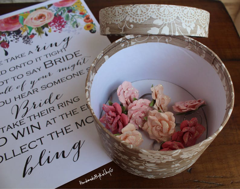 Rings For Ring Game Bridal Shower Floral Paper Ring Game Set Bridal Shower Ring Game Rose Roses Floral Rings Bridal Shower Games
