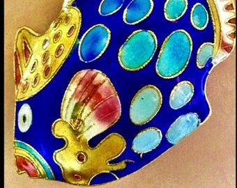 Designer One of a Kind Blue Cloisonné Fish Necklace with Yellow and Blue Handpainted Beads