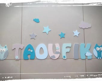 decorative name letters in wood - letters size 14 cm