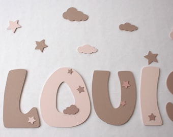 decorative name letters in wood - letters size 25 cm