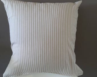 White and taupe striped Cushion cover. 40 x 40 cm