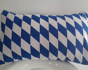Cushion cover 50 x 30 cm Blue and white diamonds