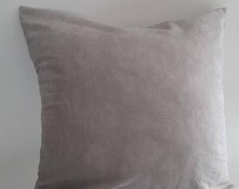 Gray pillow cover; moiré fabric