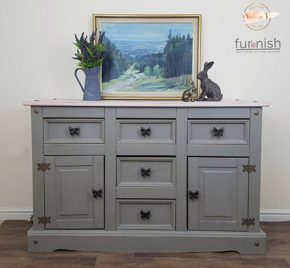 Pink Mexican Pine Sideboard Hand, Mexican Pine Furniture Painted