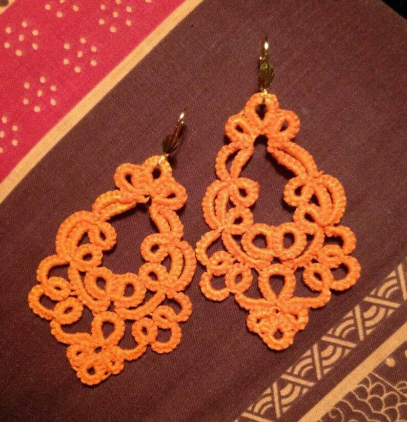 Large earrings lace tatting cotton orange tatted lace jewelry