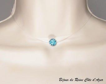 1edd04394e022 Collier modèle Simply Strass turquoise - collier 1 perle strass, collier  mariage simple, collier fil nylon perle strass, bijoux mariage