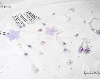 Ornament wedding Swarovski hearts - Collection - Amor set 10 pieces Gabriella white/purple - wedding