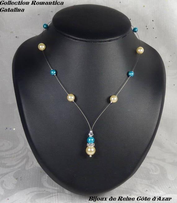 40b1c684e5487 Set of 3 wedding pieces ivory turquoise beads - Romantica Collection -  Catalina - wedding jewelry wedding ceremony, bride, bridal set.