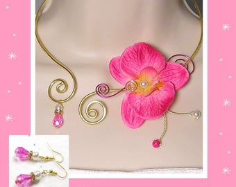 Set of wedding in stock set wedding jewelry Orchid fuchsia - the elegant Collection - flora necklace wedding jewelry set