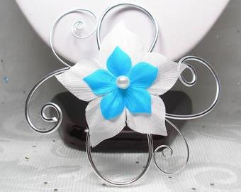 Fascinator comb - ladies - Pic - Blandine wedding ornament aluminum and flower wedding hair fascinator