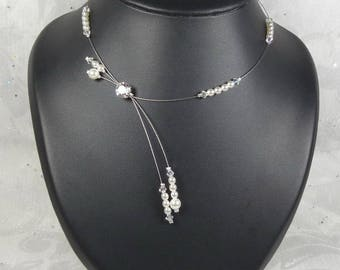 Bridal Swarovski and pearls - Glamour Collection - Adriana necklace