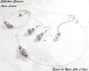 White purple wedding finery speaks - Classic Collection - Anna Louisa - rhinestone wedding party necklace
