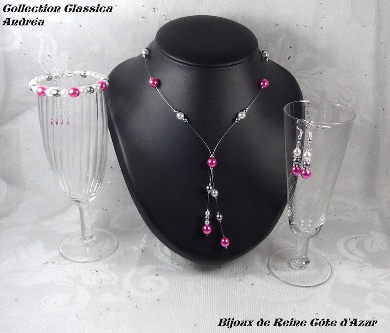 Set of 3 wedding pieces beads fuchsia White wedding party Classic Collection Andrea fuchsia wedding jewelry set white pink wedding