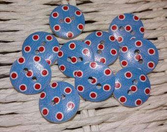 set of 10 Red polka dot wooden blue buttons