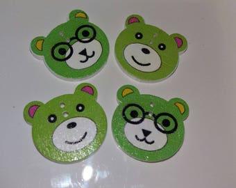 set of 4 buttons bears green wooden
