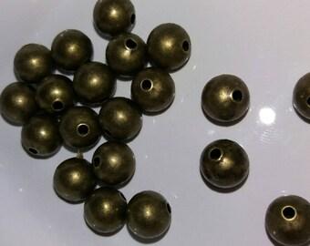 set of 20 round beads bronze 8 mm xx xxx