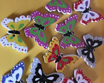 Set of 10 Butterfly buttons