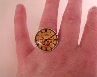 LIQUIDATION glass cabochon ring 20 mm flower clock