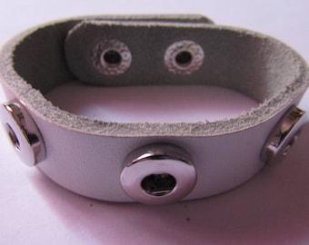 pressure bracelet, imitation leather, for 3 pressures 12mm, white
