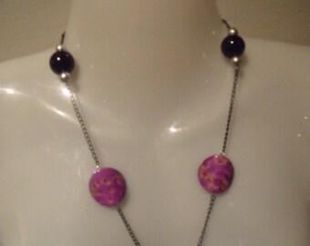 LIQUIDATION SAUTOIR silver black and violet beads