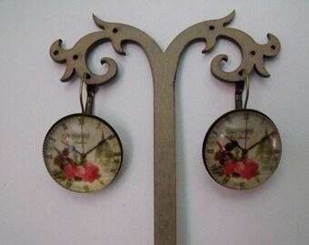 SALE earrings 25mm flower clock glass cabochon
