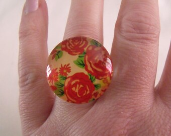 LIQUIDATION glass cabochon ring 25 mm orange red and green