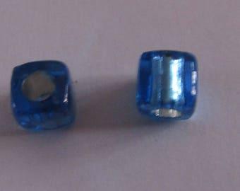 acrylic beads, set of 40, transparent, dark blue, cube 8mm