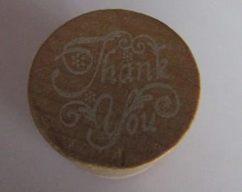 "wooden, scrapbooking, card making, ""thank you"" stamp"