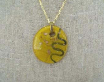 LIQUIDATION gold chain necklace glass pendant