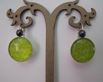 SALE earrings 20mm yellow green glass cabochon