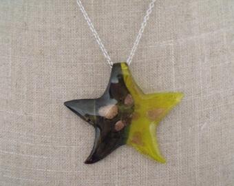 LIQUIDATION gold yellow black star glass pendant necklace