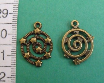 bronze charm, set of 4, stars, 21mmx15mm