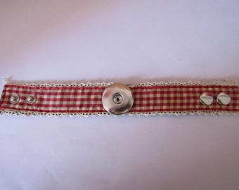 fabric bracelet, gingham red for pressure 30mm
