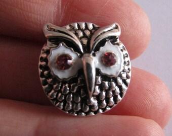 owl pressure, metal pressure, rhinestone, pink rhinestone, pressure 20mm, for jewelry, accessories