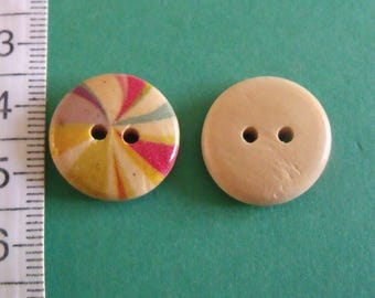 wooden buttons, set of 22, multicolored, 18mm diameter
