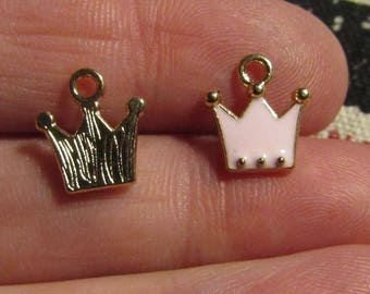 charm, set of 6, golden and very light pink crown, 12mmx11m