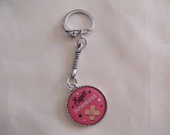 "LIQUIDATION keychain silver ""super infirmière"""