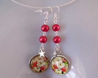 LIQUIDATION pearl earrings red glass cabochon 20 mm
