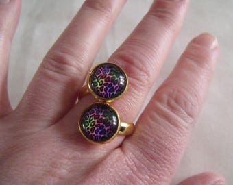 LIQUIDATION double cabochons multicolored mottled ring