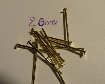 golden rods, flat head, 20mm rod, jewelery creation, set of 80 stems